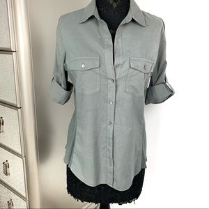 James Perse XL Taupe Button Down Tab Sleeve Shirt